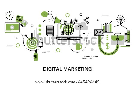 Modern flat thin line design vector illustration, infographic concept with icons of online business, internet marketing idea, office and finance objects in greenery color for graphic and web design