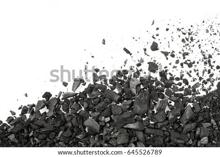 Charcoal or coal carbon  texture isolated on white background #645526789