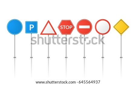 Road signs isolated. Vector street signs illustration. Road symbols design.