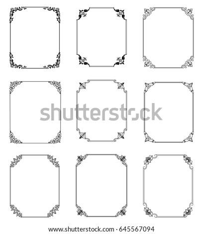 Big set of  thin vintage gold frame for your design. Vintage cover. Place for text. Vintage beautiful rectangular frame. #645567094