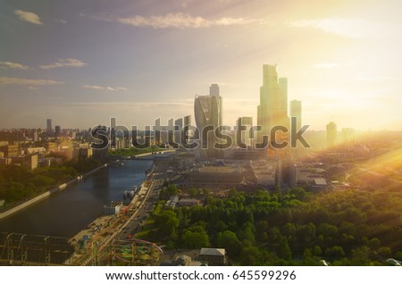 Views of the Russian capital, the Moscow center on top in the sun. #645599296