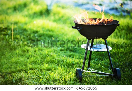 Barbecue grill with fire on nature, outdoor, close up Royalty-Free Stock Photo #645672055