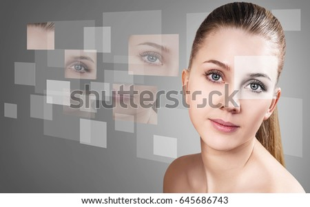 Woman's face collected from different parts #645686743