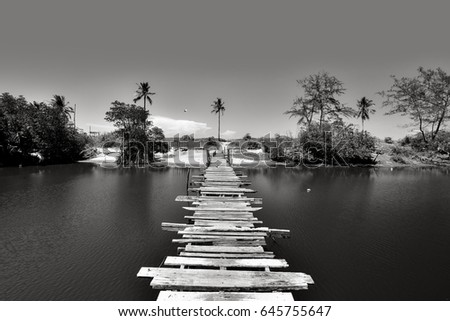 The wooden Jetty in black and white, located at Terengganu, Malaysia. #645755647
