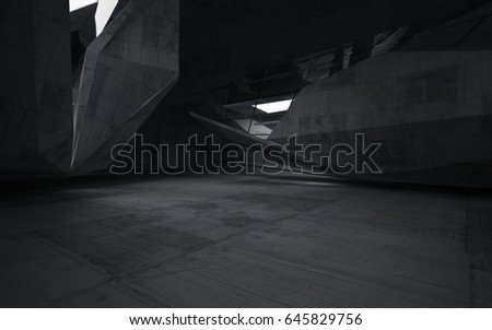 Empty dark abstract concrete room interior. Architectural background. Night view of the illuminated. 3D illustration and rendering #645829756