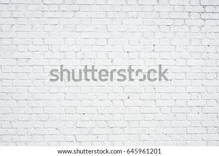 White brick wall background. Neutral texture of a brick wall close-up. #645961201