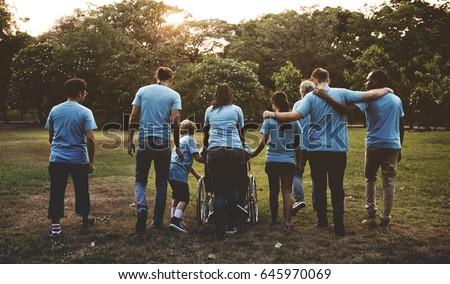 Group of Diversity People Volunteer Community Service #645970069