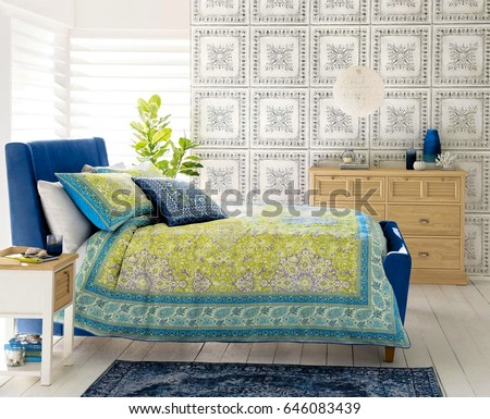 Comfortable bedroom with nice decoration. Modern bedroom interior