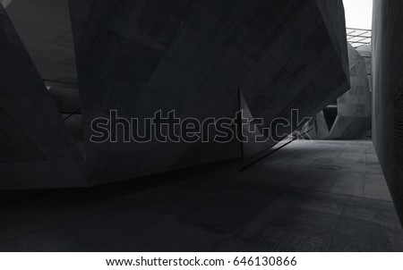 Abstract interior of glass and concrete. Architectural background. 3D illustration and rendering  #646130866