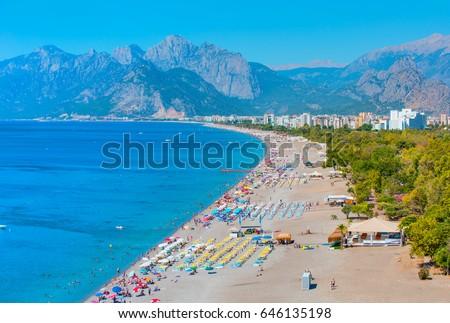 Konyaalti Beach, Antalya Turkey Royalty-Free Stock Photo #646135198