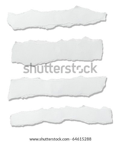 collection of  white ripped pieces of paper on white background. each one is shot separately Royalty-Free Stock Photo #64615288