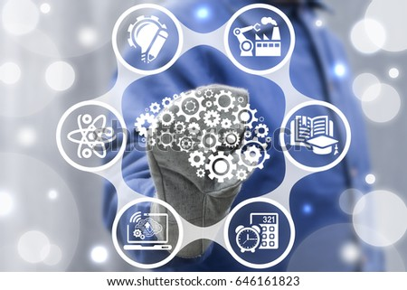Artificial Intelligence Manufacturing Concept. Smart Industry 4.0. Intellectual Industrial Innovative Technology Integration. AI manufacture engineering. Worker touched brain cogwheel icon. #646161823