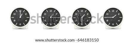 Closeup group of black and white clock with shadow for decorate show the time in 1 , 1:15 , 1:30 , 1:45 p.m. isolated on white background , beautiful 4 clock picture in different time