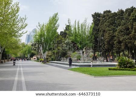BAKU, AZERBAIJAN - MAY 2017: Baku boulevard #646373110