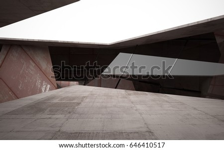Empty abstract room interior of sheets rusted metal and concrete. Architectural background. Night view of the illuminated. 3D illustration and rendering #646410517