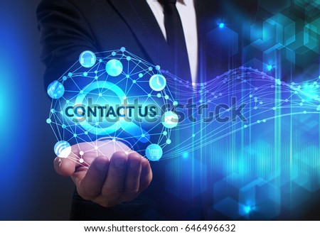 Business, Technology, Internet and network concept. Young businessman working on a virtual screen of the future and sees the inscription: Contact us #646496632