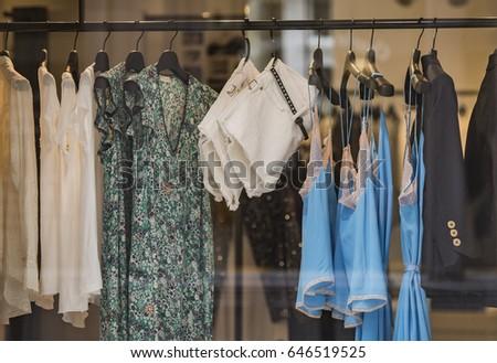 Clothing store in detail in Paris. #646519525