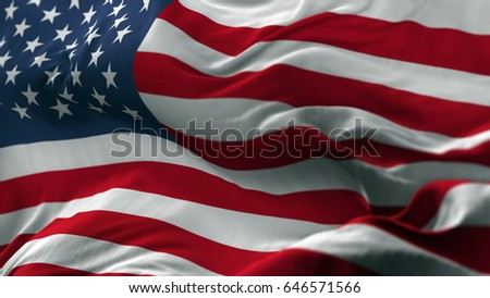 USA flag blowing on the wind, loopable slowmotion #646571566