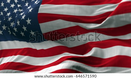 USA flag blowing on the wind, loopable slowmotion #646571590