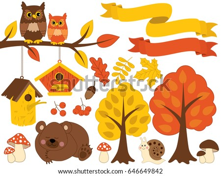 Vector autumn forest set with cute sleeping bear, owls sitting on branch, snail, amanita, trees, leaves, birdhouses and berries. Autumn forest clipart. Fall Vector. Vector Illustration