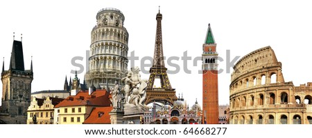 European most famous landmarks. Travel collage concept