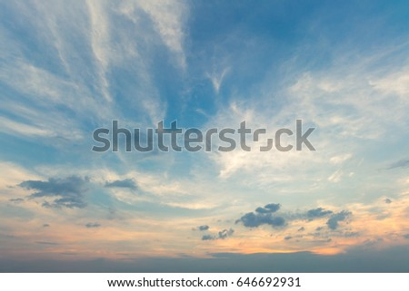 abstract air blue dusk sky dramatic sunny background with white clouds sunset. Royalty-Free Stock Photo #646692931