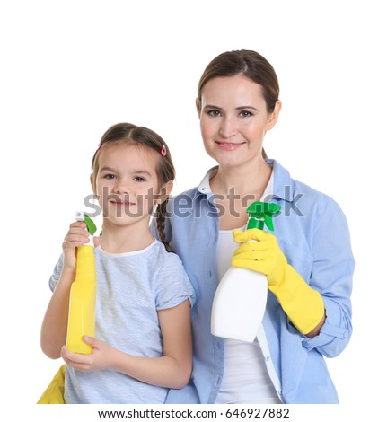 Mother and daughter with two bottles of detergent, isolated on white #646927882