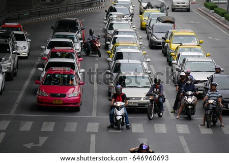 BANGKOK, THAILAND - May 9, 2015: Weekend traffic jam on the streets of Bangkok,  May 9, 2015, Thailand. #646960693