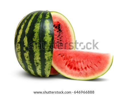 Ripe striped watermelon isolated on white #646966888