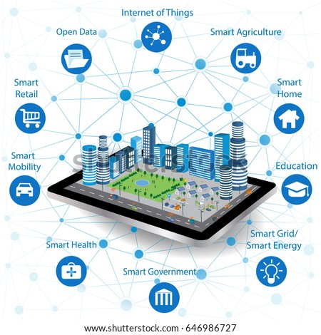 Smart city concept with different icon and elements. Modern city design with future technology for living. Illustration of innovations and Internet of things.Internet of things/Smart city Royalty-Free Stock Photo #646986727