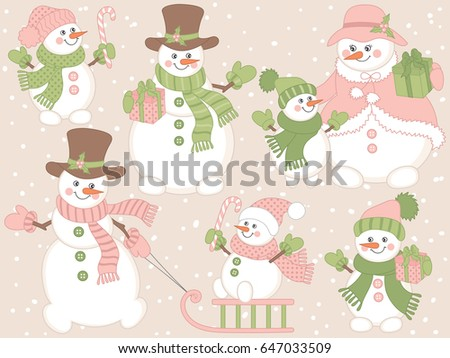 Vector cute snowmen set on pink, pastel background. Cartoon snowmen in different poses. Snowman with candy stick, sledge, presents. Snowman clipart. Christmas and New Year vector illustration.