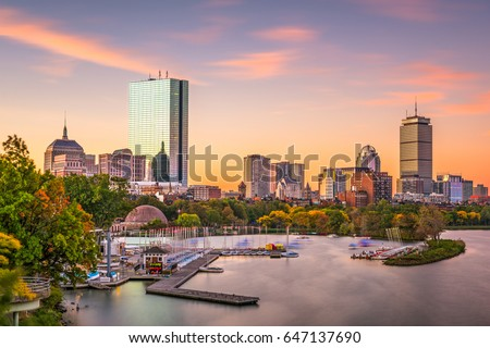 Boston, Massachusetts, USA skyline at dawn.