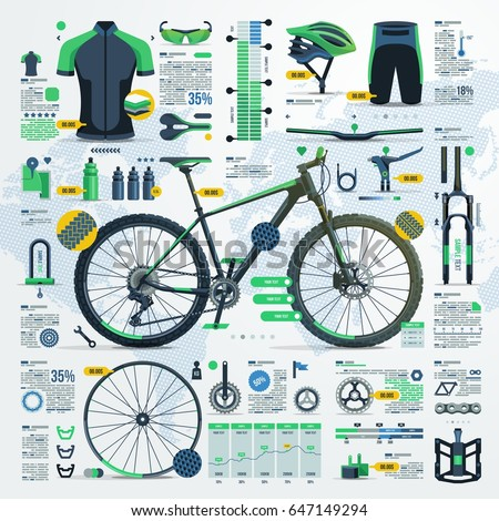 mountain bike infographic, vector elements