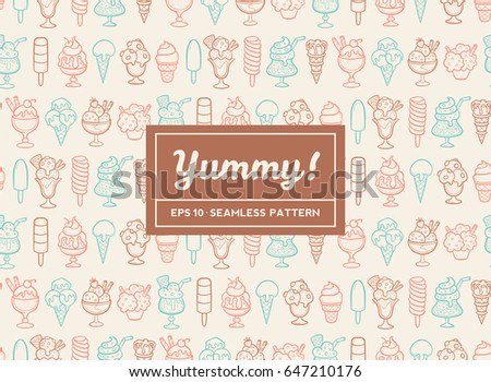Doodle ice cream seamless pattern. Hand drawn cones and ice creams with different flavors and shapes. Vector illustration. #647210176
