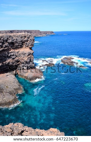 Spanish View Landscape in Fuerteventura Tropical Volcanic Canary Islands Spain #647223670