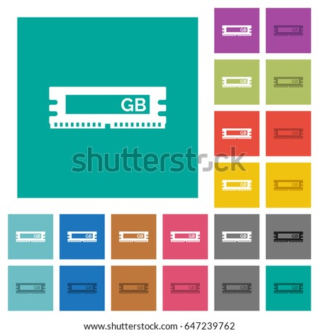 RAM module multi colored flat icons on plain square backgrounds. Included white and darker icon variations for hover or active effects. #647239762
