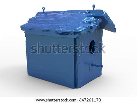 3D render isolate bird house / wooden house #647261170