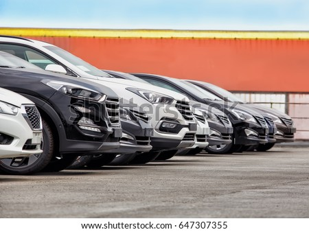 Cars For Sale Stock Lot Row. Car Dealer Inventory #647307355