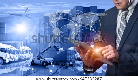 Business Logistics concept, Global business connection technology interface global partner connection of Container Cargo freight ship for Logistic Import Export background, , internet of things #647333287