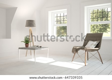 White room with armchair and green landscape in window. Scandinavian interior design. 3D illustration #647339335