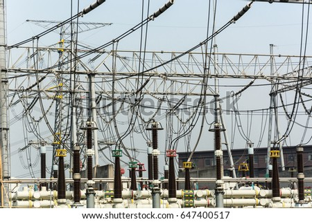 Substation equipment and dense lines, blue tone map. #647400517