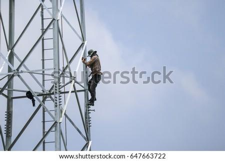 Pylon construction workers  #647663722