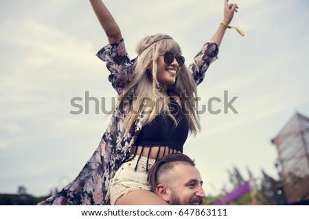 People Enjoying Live Music Concert Festival Royalty-Free Stock Photo #647863111
