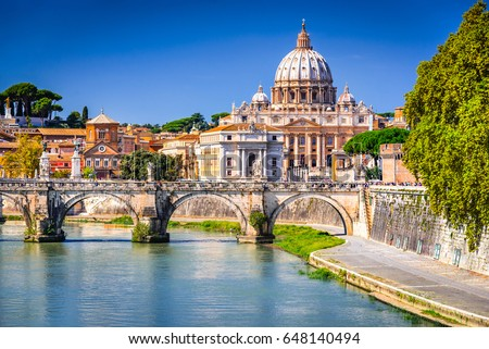 Rome, Italy. Vatican dome of Saint Peter Basilica (Italian: San Pietro) and Sant'Angelo Bridge, over Tiber river. #648140494