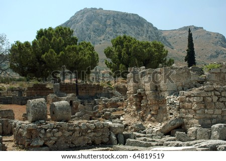 The columns from antique Greek city - Corinth #64819519