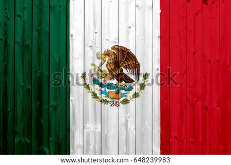 Flag of Mexico, with wood texture #648239983