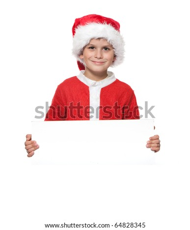 Boy holding a christmas poster isolated on white background #64828345
