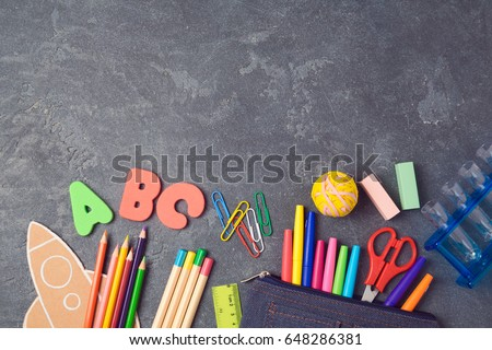 Back to school background with school supplies.View from above. Flat lay