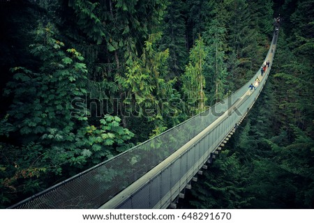 Capilano Suspension Bridge in Vancouver, Canada. Royalty-Free Stock Photo #648291670