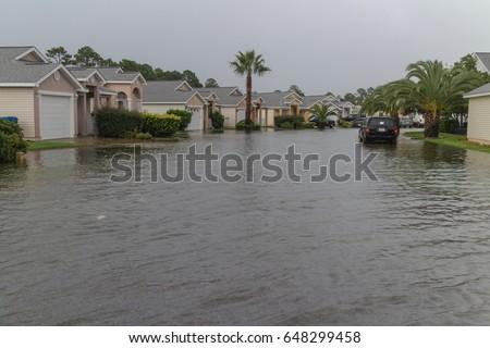 Flooded neighborhood streets